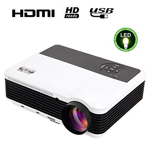 """EUG 3600 Lumens Digital Hd Multimedia Portable LCD Video Projector Home Cinema System 1080p Outdoor Projection with Hdmi VGA Usb Av Tv for Game Gaming Movie Effect 5.8"""" TFT"""