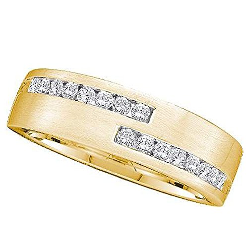 Dazzlingrock Collection Alianza de boda para hombre con diamante blanco redondo de 0,50 quilates de 14 quilates, oro amarillo