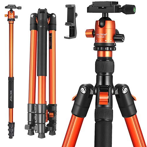 MACTREM Professional Camera Tripod with Phone Mount, 62' DSLR Tripod for Travel, Super Lightweight and Reliable Stability, Ball Head Tripod Detachable Monopod with Carry Bag (Orange)
