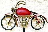 Gartenstecker Regenmesser - rotes stabiles Motorrad-, Höhe ca. 125 cm aus Metall , stabile Ausführung, frostsicher