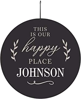 GiftsForYouNow This is Our Happy Place Personalized Round Sign