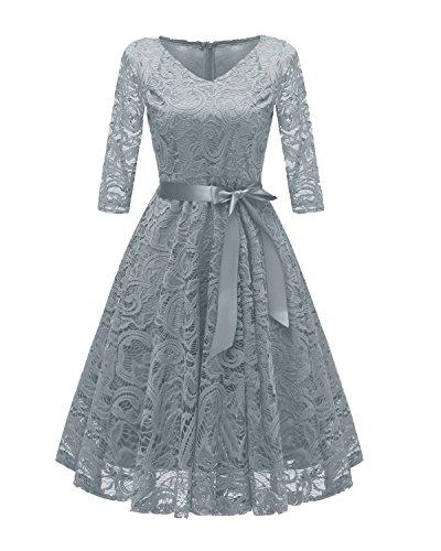 Laorchid Vintage Damen Kleid 3/4 Ärmel Floral Spitzenkleid Swing Cocktailkleid Grau XXL