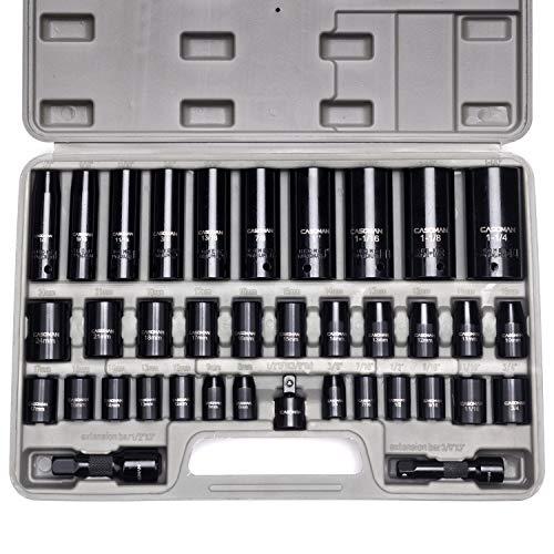 casoman 3/20,3cm und 1/5,1cm Antrieb IMPACT SOCKET SET, Zoll (SAE)/Metrisches, CR-V, 6-kant, 3/20,3cm-1–1/10,2cm 8mm–32mm, tief und flach, Befestigungs-Kit Impact Socket Set