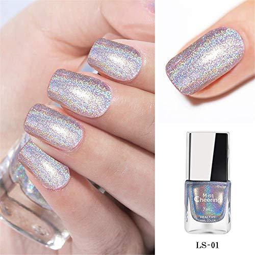 3 PACK Holographic Nail Polish,2021 Irridescent Nail Polish Gorgeous Glossy,Holographic Halo Glitter Polish Nail Art Nail Pigment Diamond Laser Nail Polish,Nail Polish Teen