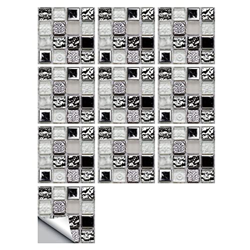 HUANLIAN Azulejo De Mosaico 3D Adhesivo 20 Piezas Baño Decorativo Extraíble Azulejos Autoadhesivos Azulejos Pared De Baño Azulejos Pared para Decoración De Baño,30x30CM B