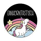 Einhorn-Mauspad Einhorntastisch I Ø 22 cm rund I Mousepad in Standard-Größe, rutschfest I mit Regenbogen I Motiv lustig süß bunt I dv_268