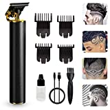 GENWEI Professional Hair Clippers for Men, Zero Gapped Cordless Hair Trimmer Set, Electric Pro T-Blade Trimmer & Accessories, Beard Trimming, Beauty Trimmer (Bald, Home, Barbers) (Black gold)