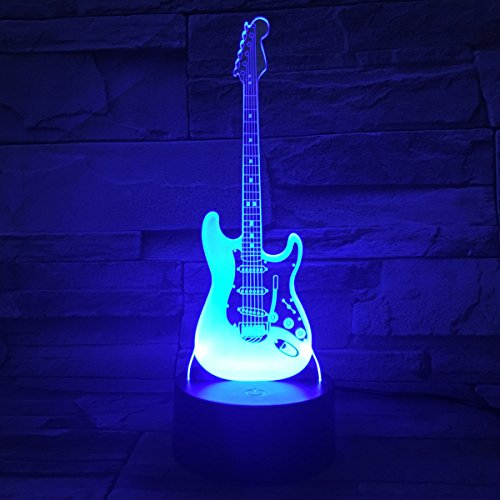 3D Illusion Lampe LED Nachtlicht, EASEHOME Optische 3D-Illusions-Lampen Tischlampe Nachtlichter 7 Farben Berührungsschalter Schreibtischlampe mit 150cm USB-Kabel Kinder Nachtlampe, Gitarre