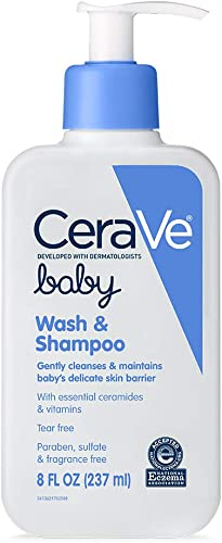 CeraVe Baby Wash & Shampoo | Fragrance, Paraben, & Sulfate Free Shampoo for Tear-Free Baby Bath Time | 8 Ounce