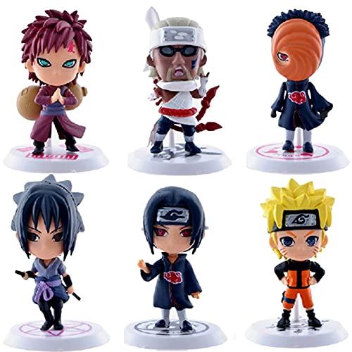 Naruto Cake Topper,6pcs Naruto Figuras Modelo Cumpleaños Pastel Decoración,REYOK Naruto Mini Figuras Niños Fiesta de Cumpleaños Pastel Decoración Suministros
