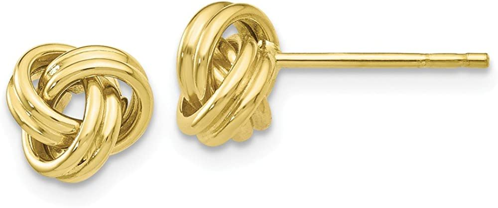 10k Yellow Gold Love Knot Post Stud Earrings Ball Button Fine Jewelry For Women Gifts For Her