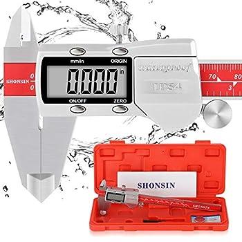 Absolute Origin Digital Caliper SHONSIN 0-6 /150mm Digital Electronic Caliper Durable Stainless Steel Micrometer Caliper Measuring Tool Slide Very Smooth IP54 Protection High Accuracy