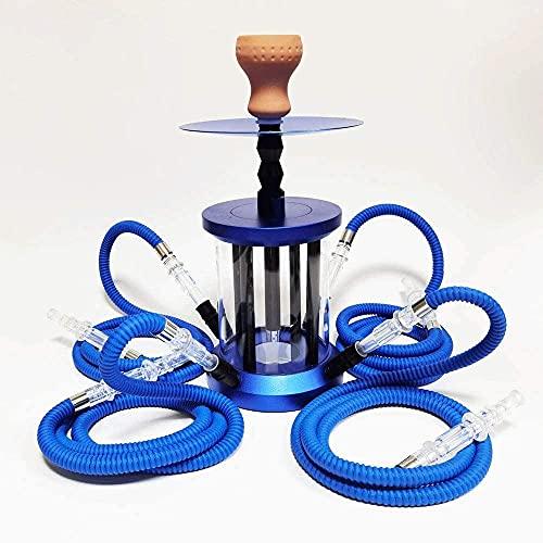 SSOLEREIT Hookah Pipe 4 Hose Hookah Kit con Control Remoto Hookah Arabian Hookah Fashion Bar Kitchled Hookah Kit, Cuenco de narguile, Manguera, Pinzas de carbón (Color : Azul)