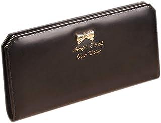 Luxurious Lady Slim Faux Leather Long Wallet Card Purse Bag,Colour:Watermelon Red (Color : Black)