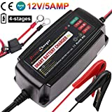 12V 5A Trickle Battery Charger, Battery Maintainer for Car, Automobile, Motorcycle, Lawnmower, Marine