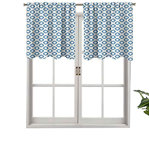 Hiiiman Cenefa de ventana moderna ovalada, doble S Ogee patrón vertical japonés, juego de 2, 42 x 24 pulgadas, paneles opacos decorativos para el hogar para sala de estar