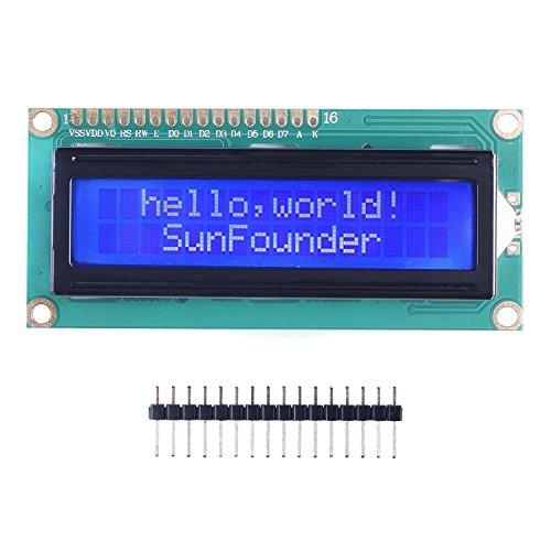SunFounder LCD1602 Module with 3.3V Backlight for Arduino R3 Mega2560 Raspberry Pi 16x2 Character White on Blue Background