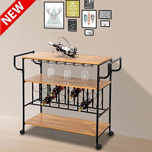 DANGRUUT Best Industrial Bar Cart, Multifunctional Kitchen Serving Cart, Rolling Island Cart with Wheels and Handle, Wine Rack, Glass Holder, Storage Shelf, Thicken Wood Metal Serving Trolley