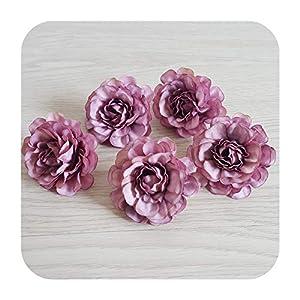 Silk Flower Arrangements SmarketL 12pcs 12COLOR 5cm Artificial Azalea Flower Head DIY rhododendro Wedding Flowers Wall Arch Wreath Garland Home Decor Floral Props-Purple