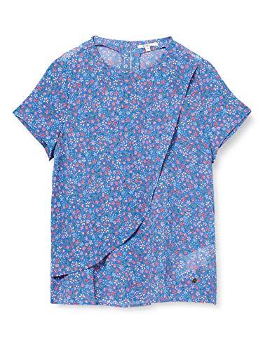 MUSTANG Damen ELSA AOP Blouse Bluse, Mehrfarbig (Blau 11756), (Herstellergröße: 36)