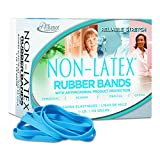 Alliance Rubber 42649 #64 Non-Latex Antimicrobial Rubber Bands, 1/4 lb box contains approx. 95 bands (3 1/2' x 1/4', Cyan Blue)