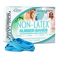 Latex Blue Antimicrobial Cyan Blue Rubber Bands, Sz. #64, 3-1/2 x 1/4, 1/4lb Box (並行輸入品)