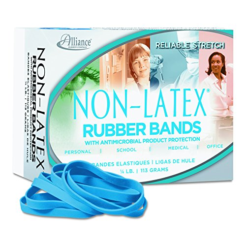 Alliance Rubber 42649 #64 Non-Latex Antimicrobial Rubber Bands, 1/4 lb box contains approx. 95 bands (3 1/2