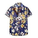 YANFANG Camiseta De Manga Corta con Camisa Flor Hawaiana Informal Moda Verano para Hombre,Nueva La Primavera China Estilo Los Hombres Ajuste Delgado Solid Casual Media Ropa,Dark Azul,XXL