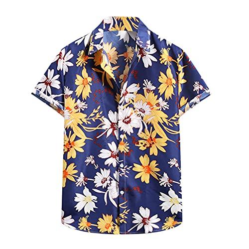YANFANG Camiseta De Manga Corta con Camisa Flor Hawaiana Informal Moda Verano para Hombre,Nueva La Primavera China Estilo Los Hombres Ajuste Delgado Solid Casual Media Ropa,Dark Azul,L