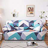 Stretch Slipcover Fitted Furniture Protector Print Sofa Cover Stylish Couch Cover with 2 Pillow Cases for Loveseats/Sofas/Sectional Couches,4 Seater-Colorful Triangle