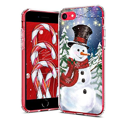 cocomong Merry Christmas Compatible with iPhone SE Case 2020, iPhone 7 8 Case Winter Christmas Snowman Flexible TPU Protective iPhone Case for iPhone SE 2nd Generation Anti-Drop-Scratch
