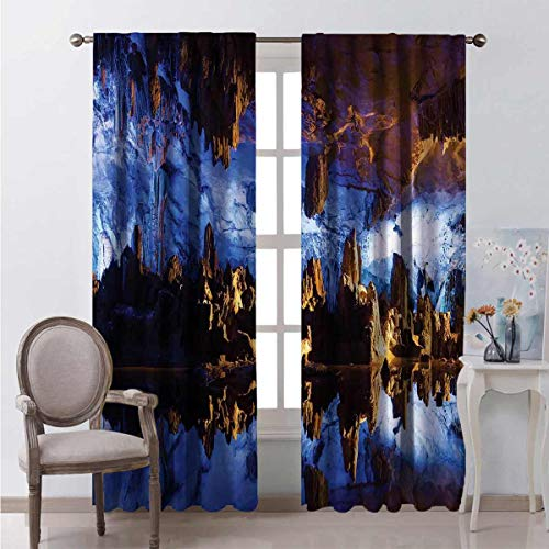 Toopeek Heat insulation curtain Cave Formation Reflection For living room or bedroom W108 x L108 Inch