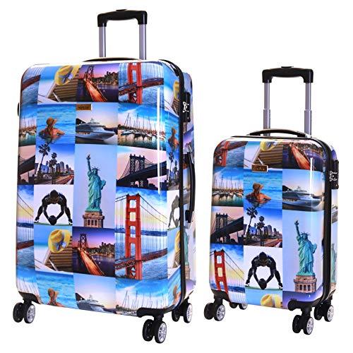 Karabar 2er Koffer-Set Trolley-Set Rollkoffer Hartschalen-Koffer Reisekoffer Große XL und Handgepäck Gepäck Polycarbonat mit 4 Rollen und integrierten...