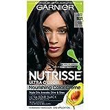 Garnier Nutrisse Ultra Color Nourishing Permanent Hair Color Cream, B11 Jet Blue Black (1 Kit) Black...