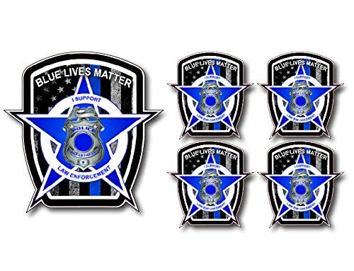 5 Pack of Thin Blue Line Police Officer BLM American Flag Vinyl Decal Sticker Car Truck