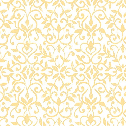 Con-Tact Brand Creative Covering Self Adhesive Drawer and Shelf Liner, 18' x 9', Antique Floral Yellow