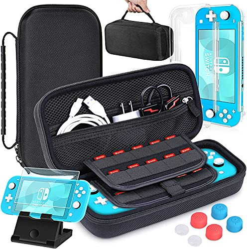 HEYSTOP Case Compatible with Nintendo Switch Lite with Switch Lite Screen Protector Carrying Case Cover for Nintendo Switch Lite Adjustable PlayStand and 6 Thumb Grip Caps Console Accessories