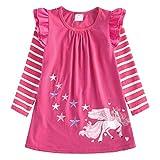 VIKITA Vestidos para Niñas T-Shirt Manga Larga Algodón Casual Patrón de Estrella Lh0820 5T