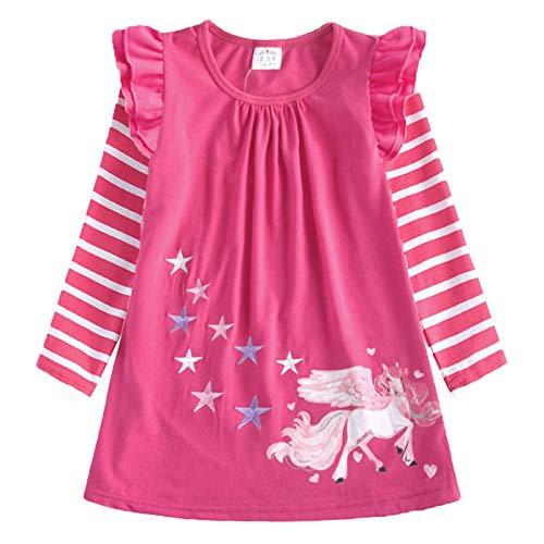 VIKITA Mädchen Streifen Baumwolle Langarm T-Shirt Freizeit Kleid LH0820 5T