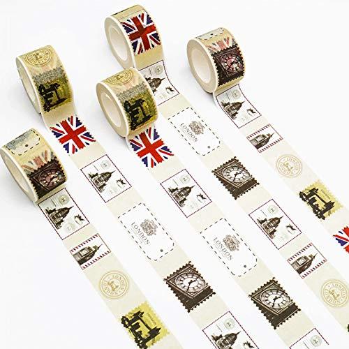 ZXWDL Creatieve retro stempel washi papier sjablonen scrapbooking plakband DIY ambachtelijke geschenkverpakking 1 stuk