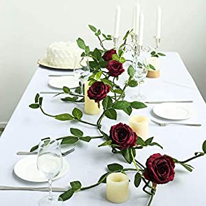 Efavormart 6 ft Burgundy Silk Rose 5 Flowers Garland with Bendable Wire Vines Artificial Flower Garlands with Leaves for Weddings