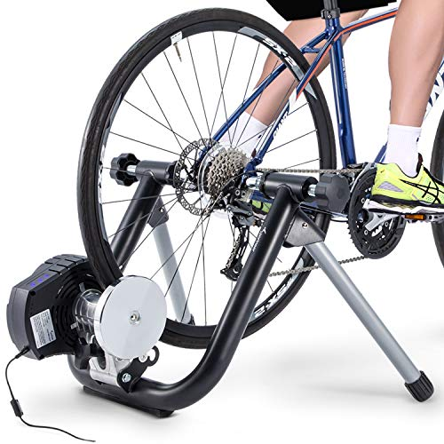 Smart Bike Trainer Sportneer Electromagnetic Bicycle Trainers Stand for Indoor Riding Cycling with Built-in Speed Sensor Power Sensor, Automatic Resistance Adjustment, Compatible with Zwift