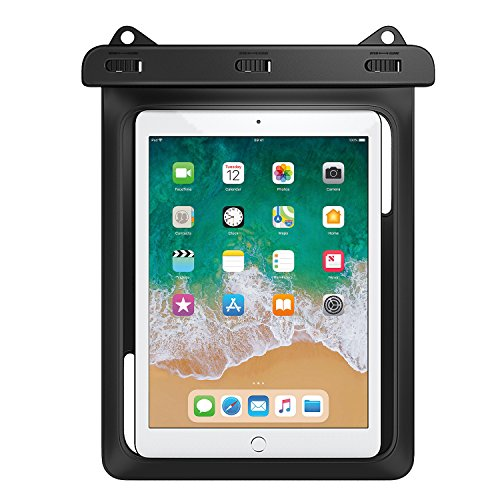 MoKo Waterproof Tablet Case, Tablet Pouch Dry Bag for New iPad 9.7 2018/2017, iPad Pro 9.7, iPad Air 2, iPad 4/3/2, Samasung Tab S4/ S3/ S2/Tab A 9.7, Galaxy Note 8, Tab E 9.6 Up to 10 Inch, Black