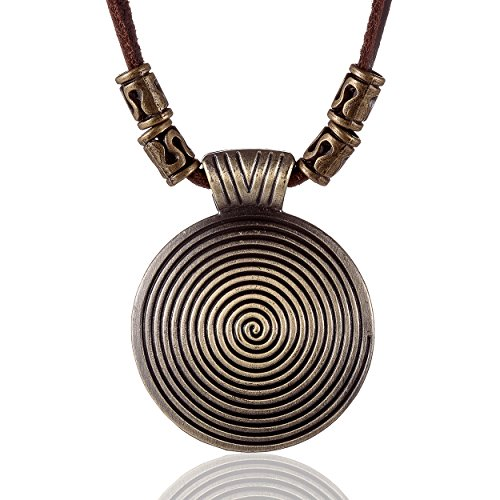 COOSTUFF ANNA Vintage Long Necklace with Pendant Jewelry Genuine Cow Leather Necklaces for Women Choker