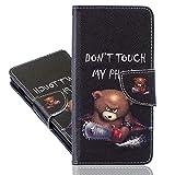 IMEIKONST Kompatibel mit LG K42 Hülle, Leder Gemalt Flip Brieftasche Magnetisch Ständer Schutzhülle Tasche Handyhülle für LG K42. Saw Bear BBK