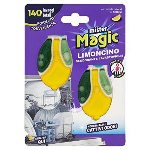Mister Magic Limoncino - Desodorante para lavavajillas con antibacteriano natural, perfumado también en lavavajillas apagado, 2 ambientadores, 140 lavados