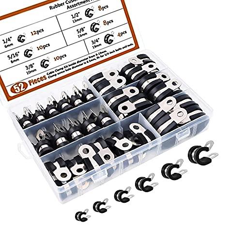 CJBIN Abrazadera de Cable, 52 Piezas Abrazaderas Metalicas para Tubos 6-19mm Tensor...