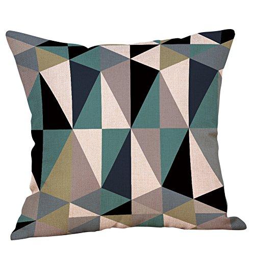 ZOUMOOL_ Pillow Cases Fundas de Almohada para sofá, Tela de Aspecto de Lino Natural, Patrones geométricos Modernos, sofá Cuadrado Decorativo