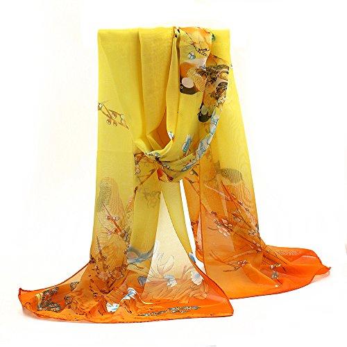 Sanwood Ladies Chiffon Scrawl Flower Printed Wrap Scarf (Yellow)