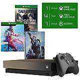 Microsoft Xbox One X, schwarz - Battlefield V Gold Rush Special Edition Bundle + Call of Duty: Modern Warfare - [Xbox One] + Steelbook